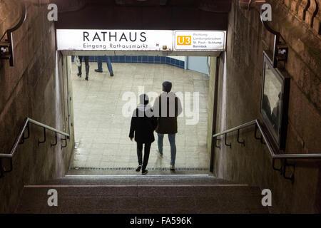 Hamburg Germany. Hamburg U-Bahn Rathaus station - Stock Photo