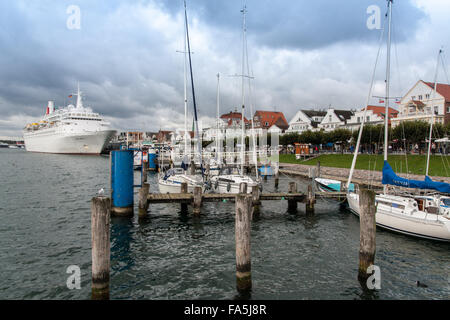 Habor of Travemünde with a big cruise line - Stock Photo