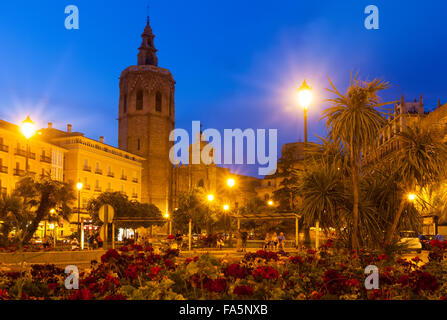 Night view of El Micalet and Cathedral at Plaza de la Reina. Valencia, Spain - Stock Photo