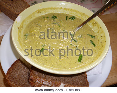 Bowl Of Home-Made Pea Soup East Berlin Germany - Stock Photo