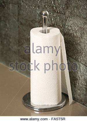 Paper Towel Roll On Countertop With Dispenser - Stock Photo
