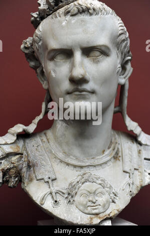 Caligua (Gaius Julius Caesar Augustus Germanicus). (12-41 AD). 3rd roman emperor. Julio-Claudian dynasty. Bust of - Stock Photo