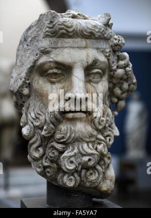 Greek mythology. Dionysus. God of wine. Roman statue. 2nd century AD. Marble. Ny Carlsberg Glyptotek. Copenhagen, - Stock Photo