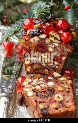 Christmas fruit cake - Stock Photo