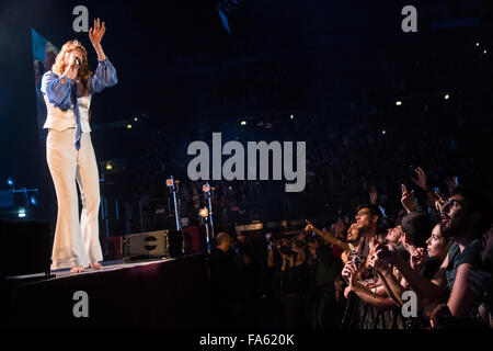 Milan Italy. 21 December 2015. The English indie rock band FLORENCE AND THE MACHINE performs live on stage at Mediolanum - Stock Photo