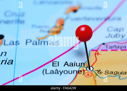 El Aaiun pinned on a map of Africa - Stock Photo
