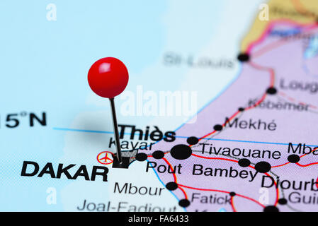Dakar pinned on a map of Africa - Stock Photo