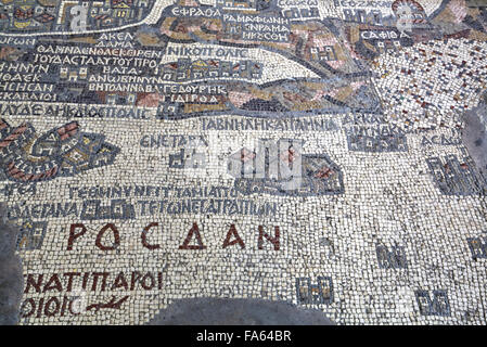 Oldest Map of Palestine, Mosaic, Dated AD 560, St George's Church, Madaba, Jordan - Stock Photo