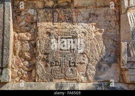 Carved Relief, Platform of Venus, Chichen Itza, UNESCO World Heritage Site, Yucatan, Mexico - Stock Photo