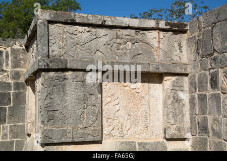 Carved Relief, Platform of the Eagles and Jaguars, Chichen Itza, UNESCO World Heritage Site, Yucatan, Mexico - Stock Photo