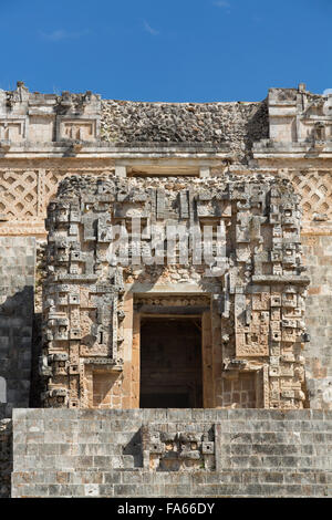 House of the Magician, Uxmal Mayan Archaeological Site, Yucatan, Mexico - Stock Photo