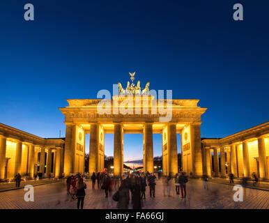 Dusk shot of Brandenburg Gate Berlin Germany Brandenburger Tor Twilight - Stock Photo