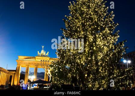 Christmas Tree at Brandenburg Gate Brandenburger Tor Berlin Germany - Stock Photo