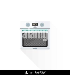 vector white color green blue elements flat design kitchen built-in oven isolated illustration white background - Stock Photo