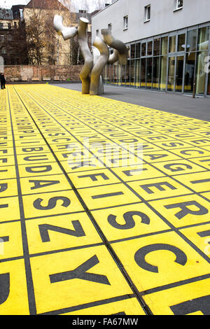 Yellow field of letters Berlinische Galerie Berlin  Marking for glass warehouse Germany - Stock Photo