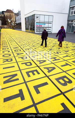 Yellow field of letters Berlinische Galerie Berlin - Stock Photo