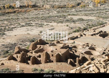 Chaco Canyon National Historic Park, UNESCO World Heritage Site, Pueblo Bonito, New Mexico, USA - Stock Photo