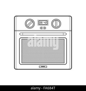 vector monochrome contour kitchen built-in oven isolated black outline illustration on white background - Stock Photo