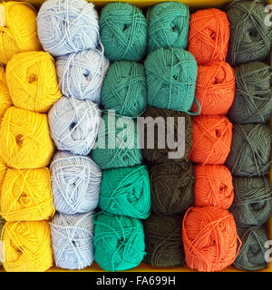 Overhead view of balls of wool - Stock Photo