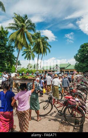 old bicycle cyclo taxi rickshaw in yangon myanmar - Stock Photo