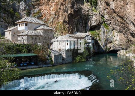 The Blagaj Tekke, a historical Dervish monastery, in Blagaj, Bosnia and Herzegovina. - Stock Photo