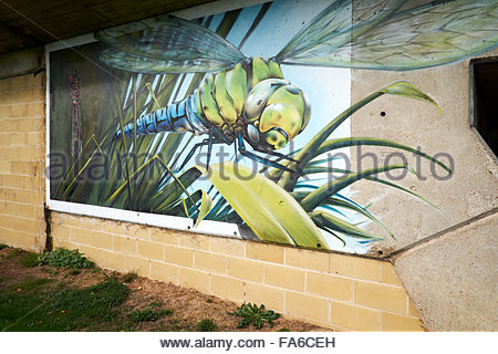 Urban graffiti wall art on a road bridge crossing a river depicting ...
