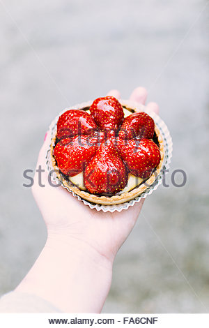 Woman holding strawberry tart - Stock Photo