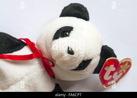 Fortune the Panda - TY Beanie Baby set on white background - Stock Photo