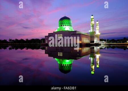 Reflection of Kota Kinabalu City Mosque at Sunrise, Sabah, Borneo, Malaysia - Stock Photo