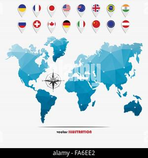 Vector illustration of world map with markers and circle national flags for your design - Stock Photo