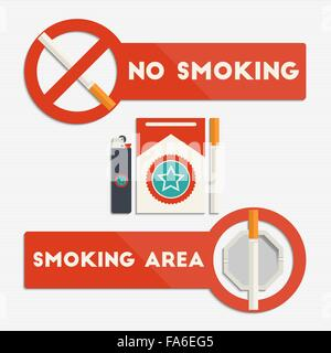 No smoking and smoking area signs with cigarettes and lighter for your design - Stock Photo