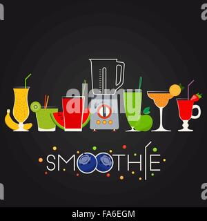 Vector illustration of fruit smoothie set for your design - Stock Photo