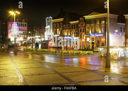 South side of the central square (Grote Markt) in Groningen, Netherlands at night, looking towards Oosterstraat - Stock Photo