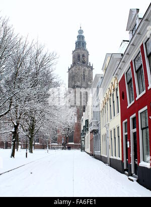 Martinikerhof, one of the oldest squares in the old medieval center of  Groningen, The Netherlands in winter with - Stock Photo