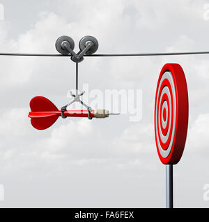 Success hitting target as a business assistance concept with the help of a guide as a symbol for goal achievement - Stock Photo