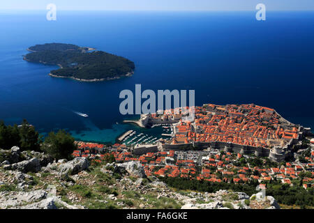 Summer, Ariel view of the City walls and Terracotta Rooftops, Dubrovnik City, UNESCO World Heritage Site, Neretva - Stock Photo