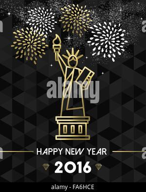 Happy New Year 2016 New York greeting card with USA United States statue of Liberty in gold outline style. EPS10 - Stock Photo