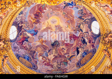 Monastery of La Cartuja.Dome of the Sagrario (sanctuary).Granada. Andalucia, Spain - Stock Photo