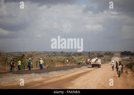 The Namialo to Rio Lurio Road in Northern Mozambique undergoes rehabilitation and construction - SE Africa. - Stock Photo