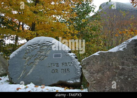 Old Man of the Mountain, New Hampshire, Live Free or Die - Stock Photo