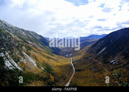 View from above in Crawford Notch State Park, New Hampshire - Stock Photo