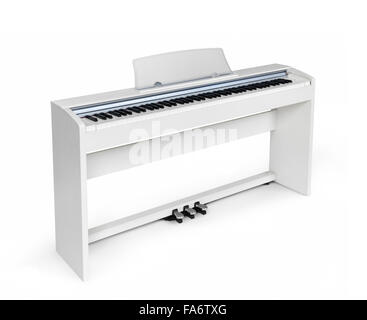 White upright digital piano in isolated on white background with clipping path - Stock Photo