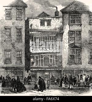 Mrs Salmon's Waxworks exhibition in Fleet Street, London, 18th century - Stock Photo