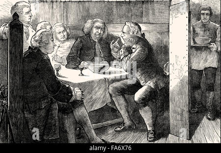 The Literary Club members, British lexicographer and writer Dr Samuel Johnson, 1709-1784, at the Mitre Tavern, London, - Stock Photo