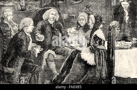 A tea party at the British lexicographer and writer Dr Samuel Johnson, 1709-1784, London, 18th century - Stock Photo