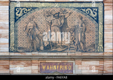 Façade detail, Villa Wahnfried, home of Richard Wagner, 1813-1883, Bayreuth, Upper Franconia, Bavaria, Germany - Stock Photo