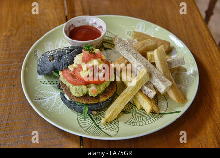 Veggie burger and taro fries, Bangkok, Thailand - Stock Photo