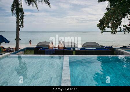 Enjoying the pool and the beach on Koh Samui island, Thailand - Stock Photo