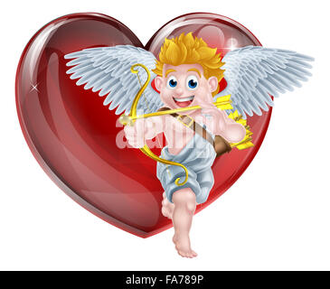 Cartoon valentines day cupid winged angel character shooting his gold bow and heart arrow in front of a big red - Stock Photo