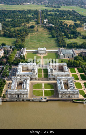 OLD ROYAL NAVAL COLLEGE, Greenwich, London. An aerial view of the baroque Naval College, Queen's House, National - Stock Photo